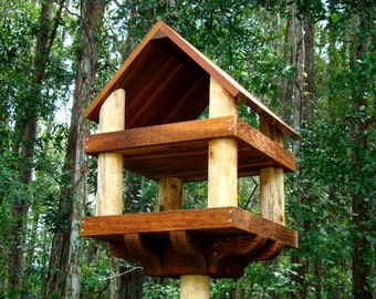 "Large wooden bird feeder platform style (23""x18""x18"") - has decorative sturdy base for 4x4 post mounting"
