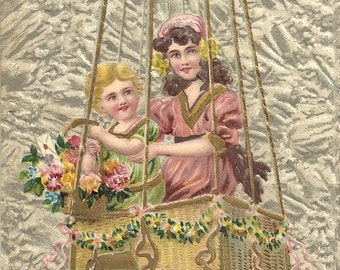 Children In Hot Air Balloon Gold Details Embossed Vintage Postcard PM 1908