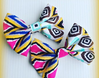 Indian Print Multicolored Hair Bow Set Of 2