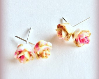 Cinnamon Swirled Brown and Pink Rose Stud Earrings