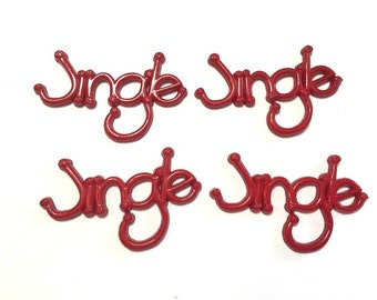 Christmas Embellishments JINGLE Red Green Color Choice Set of 4 Flat Black - 698