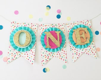 Confetti Sprinkles High Chair Cake Smash Banner. ONE Banner. Age Banner. First Birthday Decorations. Birthday Banner. ONE Photo Prop