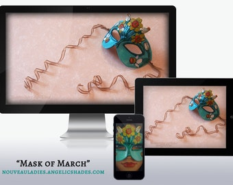 March Birthstone and Birthflower Daffodil Art Nouveau Mask Wallpapers for Desktop, Phone, and Tablet
