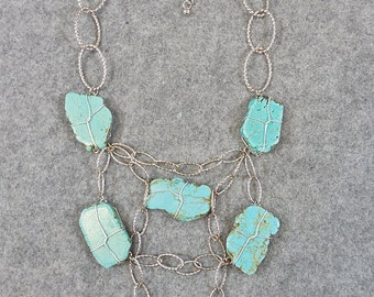 Hand Crafted Boho Turquoise Stone Statement Collar Necklace, Silver Tone Metal