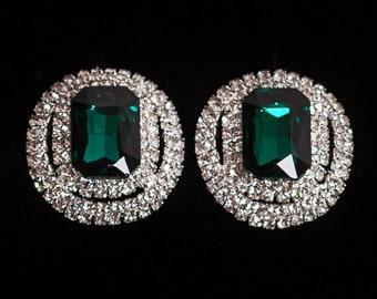 Large Vintage Style Diamante Stud Earrings