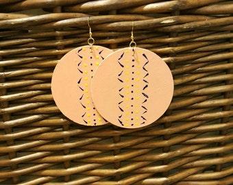 Wooden earrings, handpainted earrings, handmade earrings, statement earrings, dangle earrings