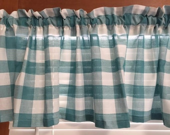 Teal and White  Country Kitchen Valance or Ruffled Sleeve Valance  60 Inches Wide