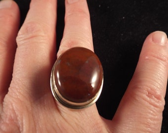 Sterling Silver Native American round RING Size 6.5 , Vintage Jewelry, Ethnic Jewelry, Brown Stone Coupon Code