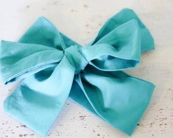 Baby headband; Rosie Wrap-headwrap; aqua fabric head wrap; newborn headband; baby headband; toddler headband; adult headband; girl