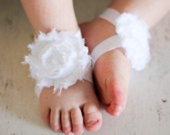 white baby barefoot sandal - white - barefoot sandal - sandal collection