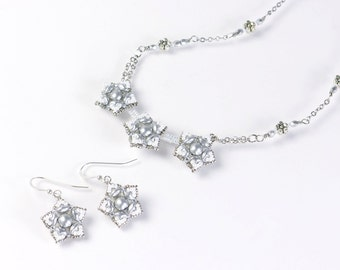 White flower necklace, clip on earrings, silver flower chain necklace, tiny flower jewelry set, bridal accessories, gift for her, 396-1