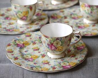 Royal albert chintz snack plate tea set
