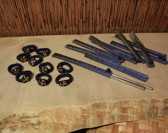 Chinese  Blue Gold Brocade Chopstick Cover and Napkin Ring Set of 8