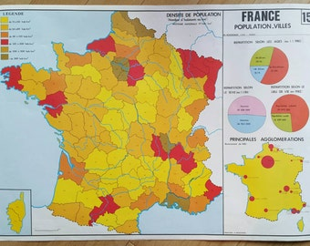 Map of France - French map - French school map - French vintage map - vintage map of France - antique map of France