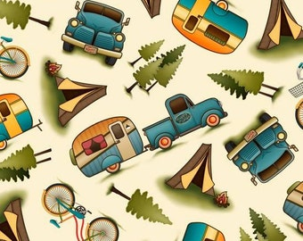 Outdoor Adventures Campers on Cream cotton fabric by Quilting Treasures
