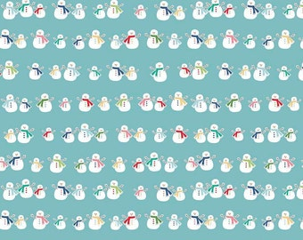 Cozy Christmas Snowmen on Blue Cotton Lycra Knit fabric by Riley Blake