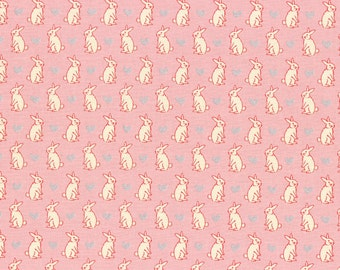 Lecien, Radiant Girl Bunnies on Pink Cotton Fabric