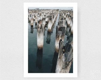 pier - jetty - wharf photograph - coastal sea decor - ocean - wall art - portrait - square prints | LARGE FORMAT PRINT
