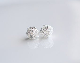 Tiny Knot Earrings - 6mm knot earrings - Sterling Silver earrings - Love knot earrings