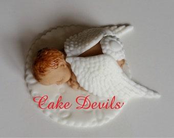 Angel Sleeping Baby Cake Topper, Angel Baby Shower, Naked Baby, Fondant keepsake, Baptism, Christening, Handmade Edible, miracle baby