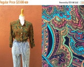 Vtg Floral Paisley blouse Bright Colors Olive Green Button Down shell buttons 3/4 sleeves