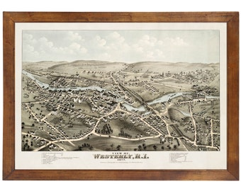 Westerly, RI 1877 Bird's Eye View; 24x36 Print from a Vintage Lithograph