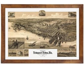 Newport News, VA 1891 Bird's Eye View; 24x36 Print from a Vintage Lithograph