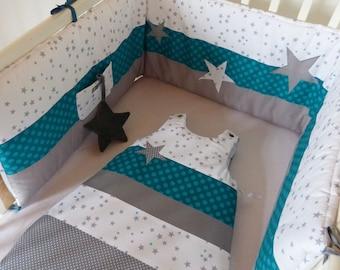 ensemble original tour de lit et gigoteuse 0 6 mois gris. Black Bedroom Furniture Sets. Home Design Ideas