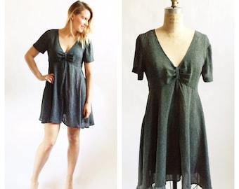 Flirty 1990's polka dot chiffon babydoll dress. Size M/L.