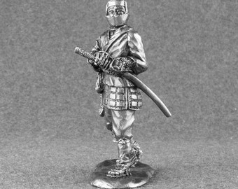 Japanese Action Figurine Warrior Ninja 1/32 Scale Tin Metal Miniature 54mm Toy Soldier Collection Statuette Role Casting