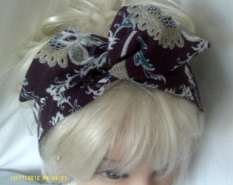 Wide Wire Headband in Vintage Cotton Fabric