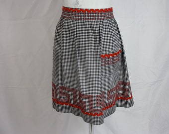 Vintage Black + White Gingham with Red Bric-Brac + Embroidered Greek Key Trim Hostess Half Apron | Cotton Blend | Small One Size
