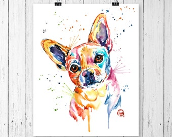 CHIHUAHUA PRINT, Chihuahua art, Chihuahua watercolour, Pet Portrait, Dog Art, Dog Print, Dog Lover, Gifts under 15, Gift under 25