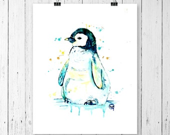 PENGUIN PRINT, penguin watercolour, penguin baby, penguin art, nursery print, nursery art, gallery wall, canadian art