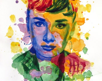 The power of color - Audrey Hepburn  Watercolor portrait Modern style hand-painted