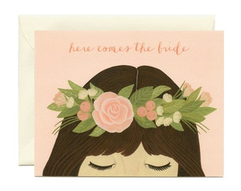 "Bridal Shower Flower Crown Card - ""Here Comes The Bride"" - ID: WED028"