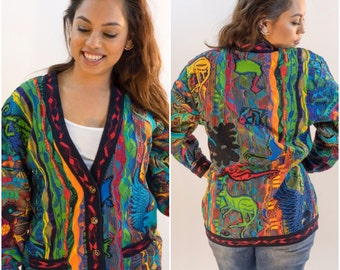 COOGI Cardigan Sweater // with Shoulder Pads (Womens) // Size Small
