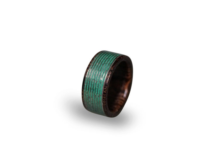 Wenge Wood Ring with Malachite Inlay, Malachite Ring, Threaded Pattern Ring