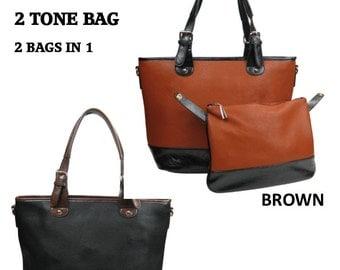 Two Tone Handbag/ Tote/Great Gift/ All Season Bag