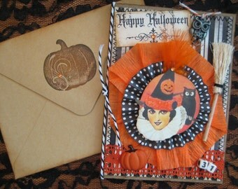 Crepe paper rosette Halloween Card, Vintage Halloween image with owl