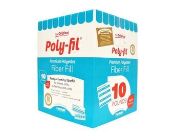 10 pound Box Premium Poly-fill Fairfield 10lb box bulk Poly-Fil Fiber Fill stuffing, bulk fiber filling, bulk poly fill, animal stuffing