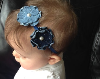 Shades of Blue Debim Flower Headband