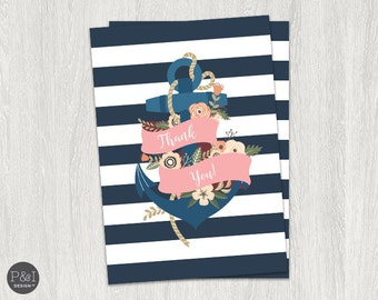 Nautical Thank You Cards   Instant Download