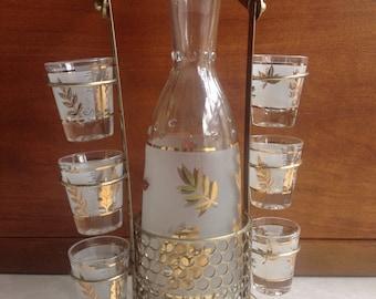 Vintage Starlyte Gold Leaf Shot Glass Set