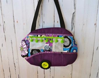 Retro caravan handbag, Purple trailer bag, Quirky gift, Unique hippie style bag