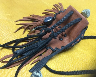Medicine Bag, Original Deerskin Medicine Pouch with Beads and Leather Feathers, Totem Pouch,  OOAK Medicine Bag, Made in Canada