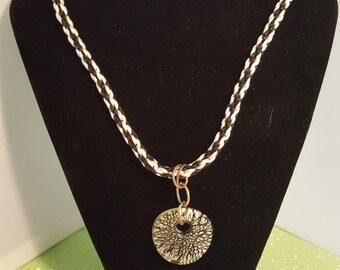Black and white kumihomo necklace - 103