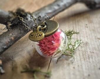 Red Gomphrena Necklace - Dried Flower - Long Fairy Glass Ball - Terrarium - Botanical Woodland Real Flower - Wedding - Friendship - Wish