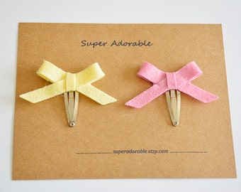 Set of 2 Skinny Bow Hair Clip