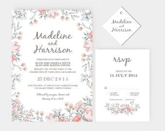 DIY Word Template Wedding Invitation Stationary Set   Editable Word Template   Invitation and RSVP   Rustic floral peach